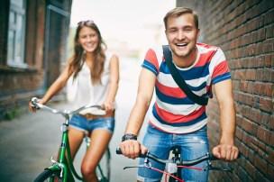 Joyful bicyclist